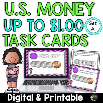 Counting Coins up to a Dollar (24 Task cards)