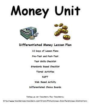 Money Differentiated Unit Pretest Post Test Tiered Activit