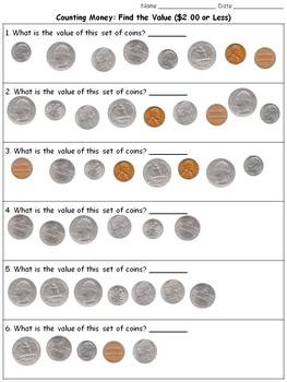 Money: Find the Value ($2.00 or Less) - Counting Coins Pra