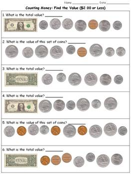 Money: Find the Value ($2.00 or Less) Counting Dollars and