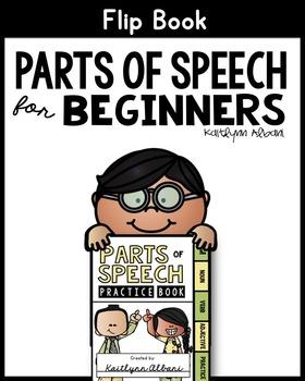 Parts of Speech Flip Book for Beginners - Nouns, Verbs, Ad