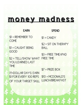 Money Madness Incentive Chart for Middle School