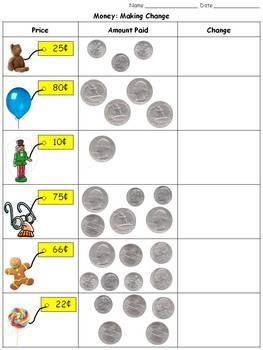 Money: Making Change - Quarters, Dimes, Nickels, and Penni
