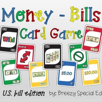 Money Math (Bills) Identification Card Game - Like UNO (sp