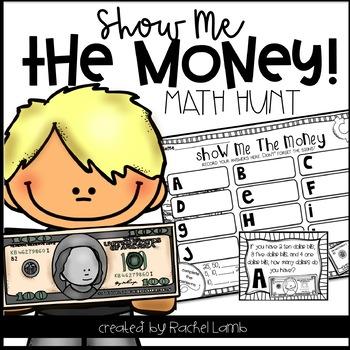 Money Roam the Room Math Hunt 2nd Grade Common Core aligned