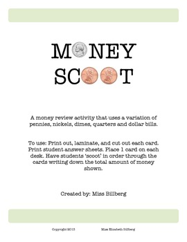 Money Scoot: Review Game with Variations of Coins