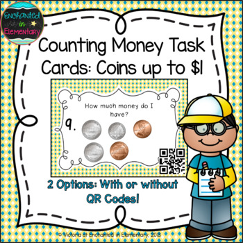 Money Task Cards Set 1:Coins up to $1.00: 2nd Grade CC:Wor