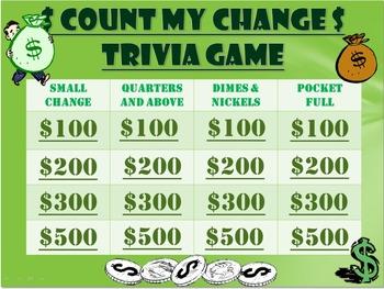 Money Trivia Game:  Change/Cents Game!  Fun Stuff