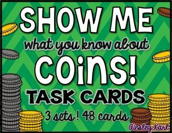 Money - U.S. Coins and Change - Task Cards - 3 sets! - 1st