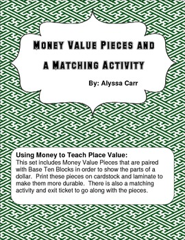 Money Value Pieces and Matching Activity