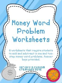 Money Word Problem Worksheets- Money Resources