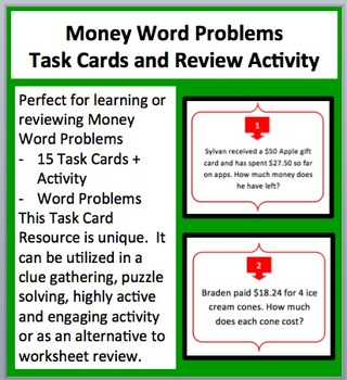 Money Word Problems -Final Price, Change and Cost Task Car