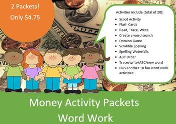 Money Word Work Packets (2) – 10 words, no prep spelling p