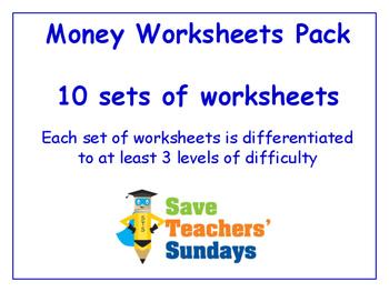 Money Worksheets Bundle / Pack (10 sets for 2nd to 4th grade)
