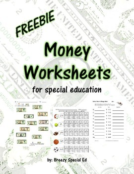 Money Math Worksheets FREEBIE for Special Education