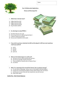 Money and Percentage Written Test