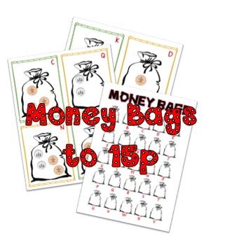 Money bags activity/hunt to 15p