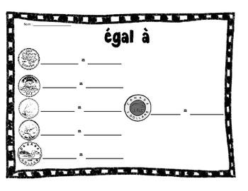 Money match- Grade 1 French Immersion