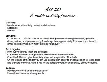 Money math activity/center
