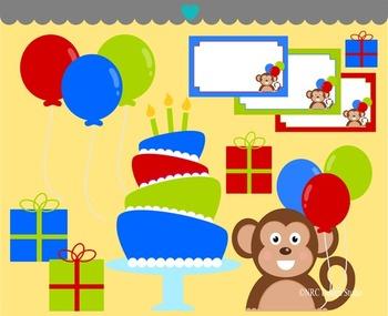 Monkey Birthday Party Clip Art