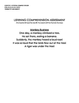 Monkey Business (Listening Comprehension Assessment w/Rubric)