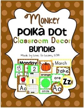 Monkey Classroom Decor Bundle - Polka Dot