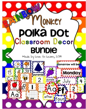Monkey Classroom Decor Bundle - Rainbow Polka Dot