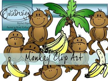 Monkey Clip Art Set - Color and Black-White
