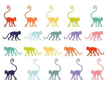 Monkey Clipart, Animal Clipart, Digital Clipart, Monkey Set #079
