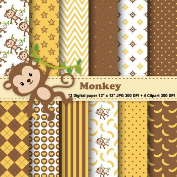 Monkey Digital Paper & Clipart