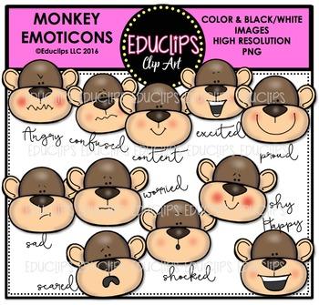 Monkey Emoticons Clip Art Bundle