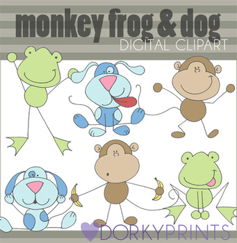 Monkey Frog and Dog Digital Clip Art