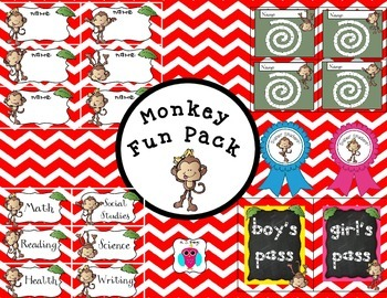 Monkey Fun Pack- Red Chevron