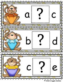 Monkey Mania Missing Letter Envelope Center