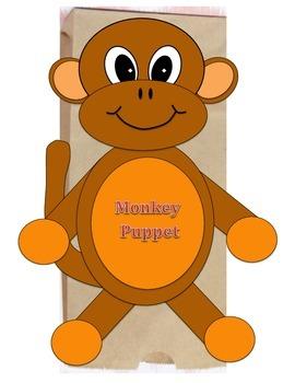 Monkey Paper Bag Puppet Pattern or Valentine Treat Bag