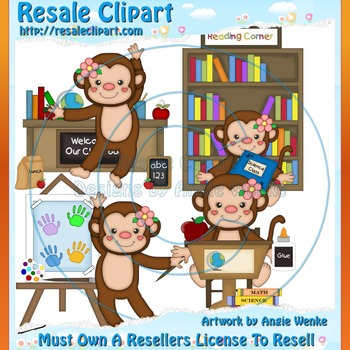 Monkey School Girl ClipArt - Commercial Use