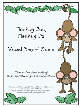 Monkey See, Monkey Do - Vowel Board Game