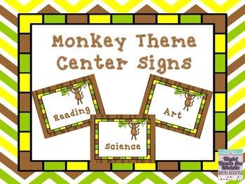 Monkey Theme Center Signs