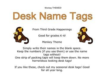 Monkey Theme Desk Name Tags