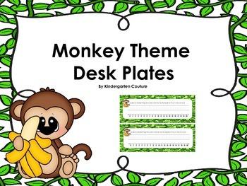 Monkey Theme Desk Plates