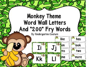 Monkey Theme (Jungle) Word Wall Letters And 200 Fry Words