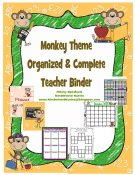 Monkey Theme Organized Binder and Plan Book