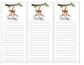 Monkey Theme To Do List