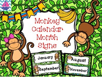 Monkey Themed Classroom Calendar Month Labels