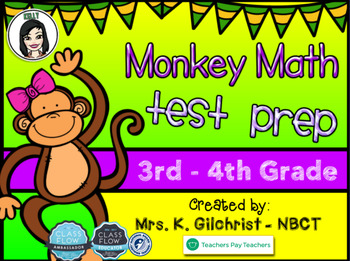 Monkey Themed Math Test Prep Practice for Promethean ActivInspire