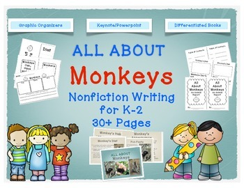 Monkey nonfiction writing booklets for lower elementary