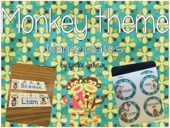 Monkey theme name tags {Editable}