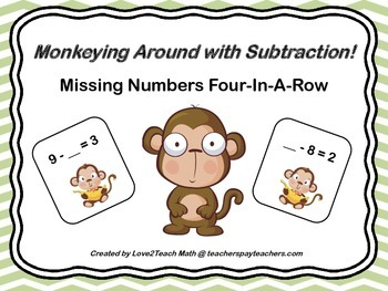 Monkeying Around With Subtraction!  Missing Numbers Four-I