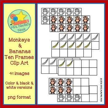 Monkeys & Bananas Ten Frames Clip Art