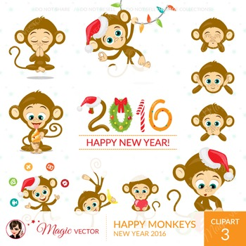 Monkeys, Christmas, New Year, commercial use, vector graph